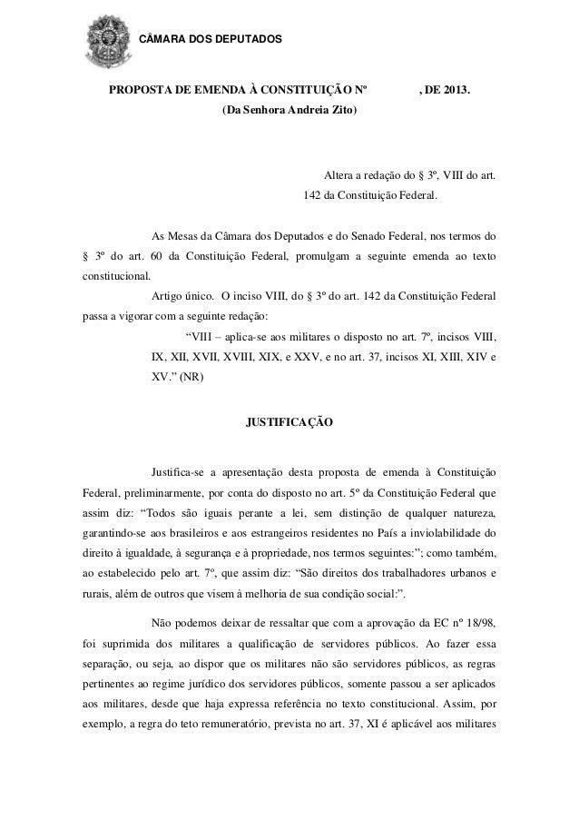 CÂMARA DOS DEPUTADOS  PROPOSTA DE EMENDA À CONSTITUIÇÃO Nº  , DE 2013.  (Da Senhora Andreia Zito)  Altera a redação do § 3...