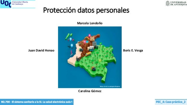 Mapa Carla Euraúsquin Bayona Protección datos personales Marcela Londoño Juan David Henao Boris E. Vesga Carolina Gómez