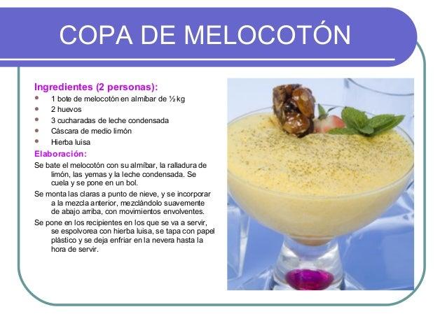 COPA DE MELOCOTÓNIngredientes (2 personas):   1 bote de melocotón en almíbar de ½ kg   2 huevos   3 cucharadas de leche...