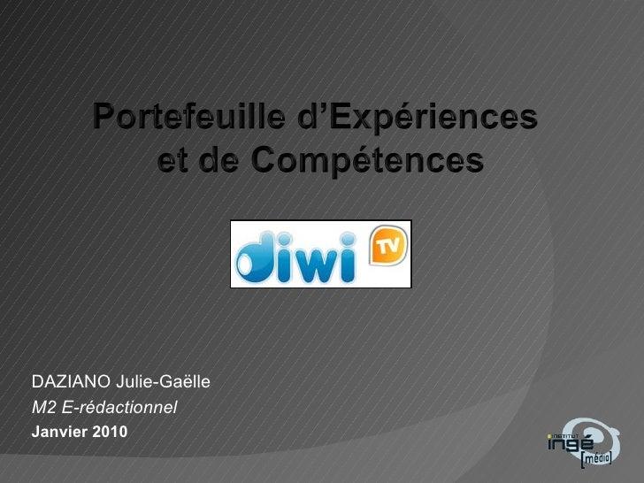 DAZIANO Julie-Gaëlle M2 E-rédactionnel Janvier 2010