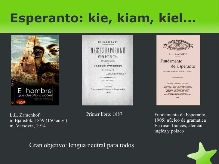 Esperanto: kie, kiam, kiel... L.L. Zamenhof  n. Bjalistok, 1859 (150 aniv.) m. Varsovia, 1914 Primer libro: 1887 Fundament...