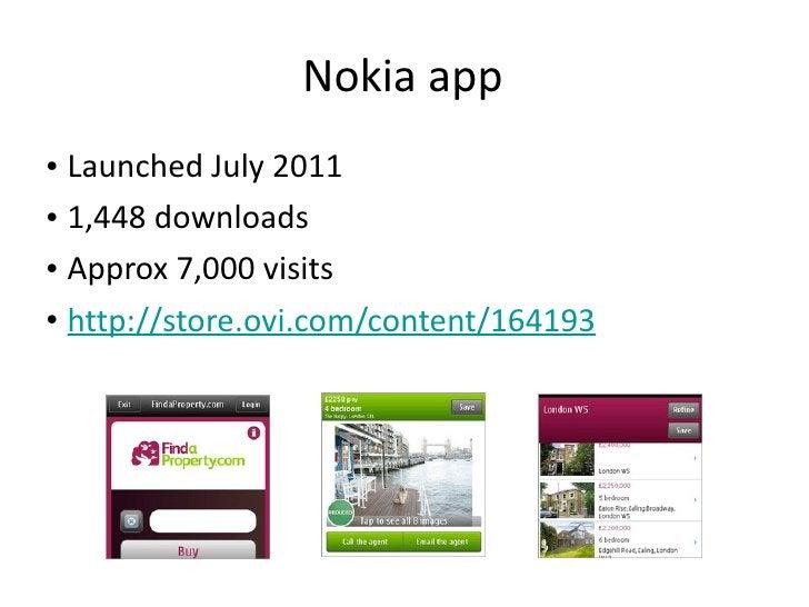 Nokia app <ul><li>Launched July 2011 </li></ul><ul><li>1,448 downloads </li></ul><ul><li>Approx 7,000 visits  </li></ul><u...