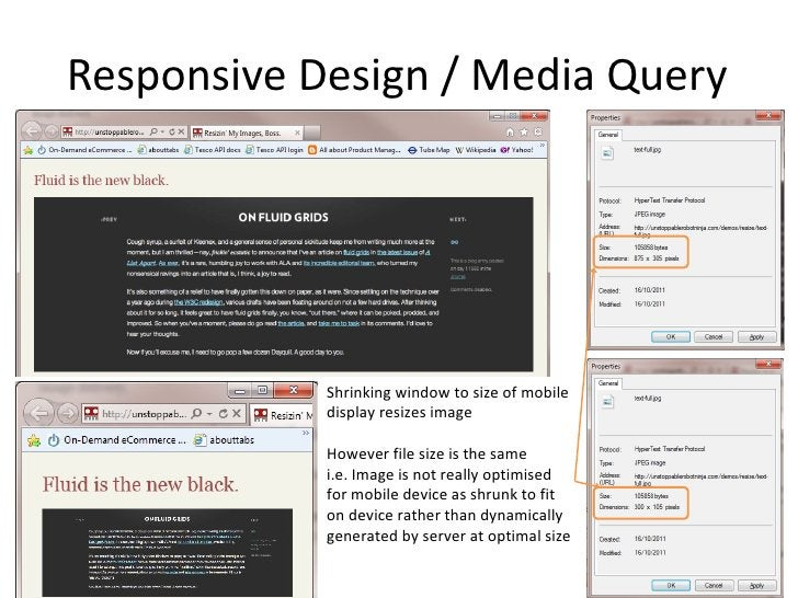 Responsive Design / Media Query Shrinking window to size of mobile display resizes image  However file size is the same  i...