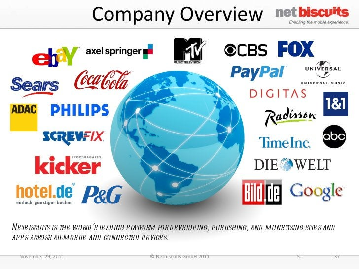 Company Overview November 29, 2011 © Netbiscuits GmbH 2011 37 Netbiscuits is the world's leading platform for developing, ...