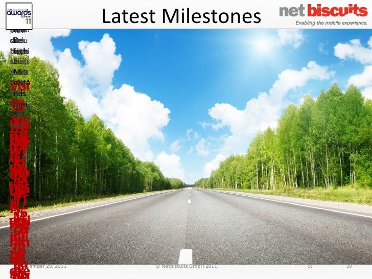 Latest Milestones November 29, 2011 © Netbiscuits GmbH 2011 39 CBS.com mobile site built on the Netbiscuits Platform Wins ...