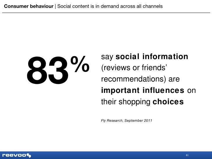 Consumer behaviour      Social content is in demand across all channels say  social information  (reviews or friends' reco...