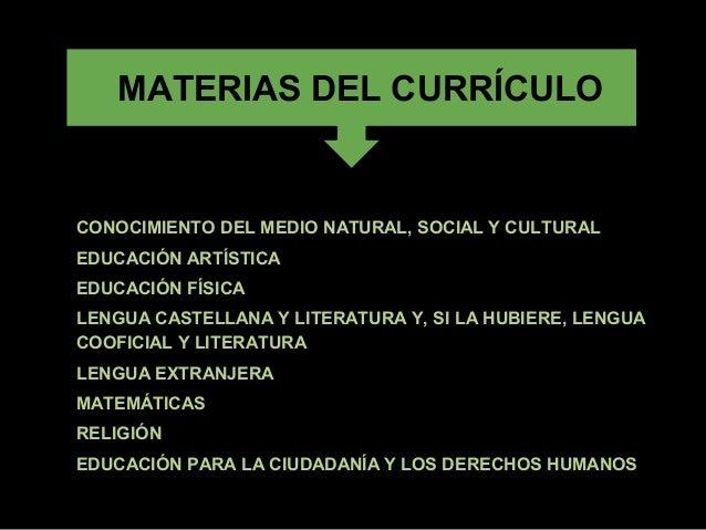 MATERIAS DEL CURRÍCULO•   CONOCIMIENTO DEL MEDIO NATURAL, SOCIAL Y CULTURAL•   EDUCACIÓN ARTÍSTICA•   EDUCACIÓN FÍSICA•   ...