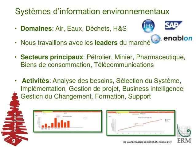 PECHAKUCHA 9 The world's leading sustainability consultancy Systèmes d'information environnementaux • Domaines: Air, Eaux,...