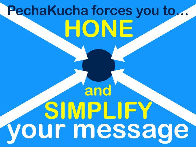 your message and PechaKucha forces you to… HONE SIMPLIFY