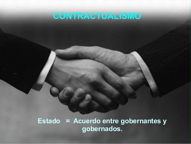 Contractualismo● Estado = Acuerdo entre gobernantes ygobernadosCONTRACTUALISMOEstado = Acuerdo entre gobernantes ygobernad...