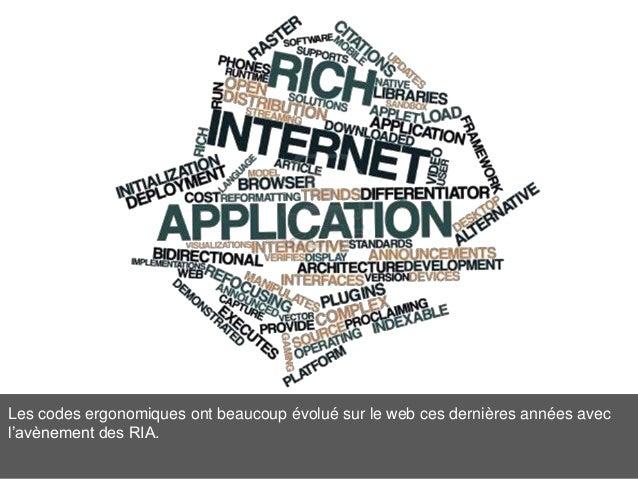 Les codes ergonomiques ont beaucoup évolué sur le web ces dernières années avec l'avènement des RIA.