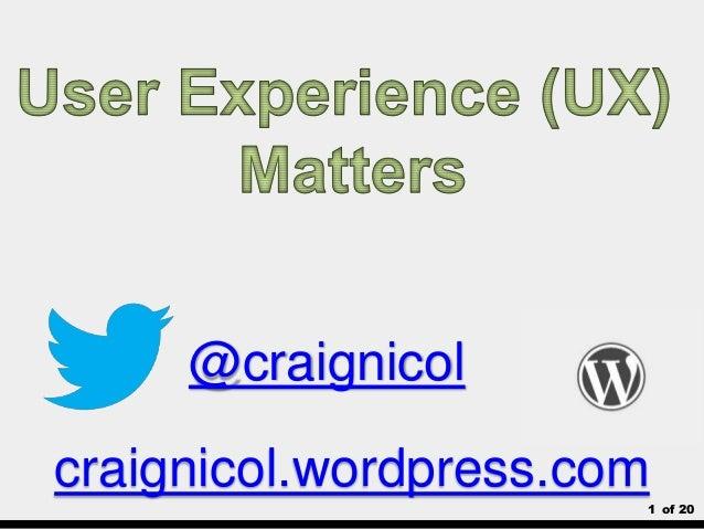 1 of 20 @craignicol craignicol.wordpress.com