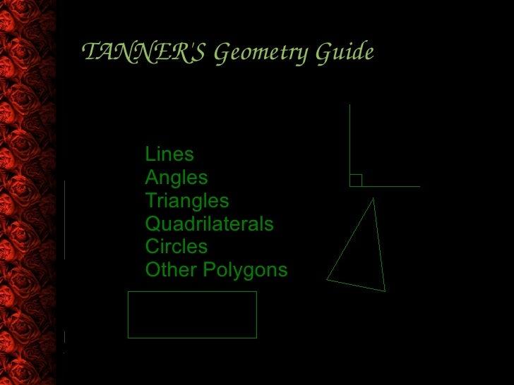 TANNER'S Geometry Guide <ul><ul><li>Lines </li></ul></ul><ul><ul><li>Angles </li></ul></ul><ul><ul><li>Triangles </li></ul...