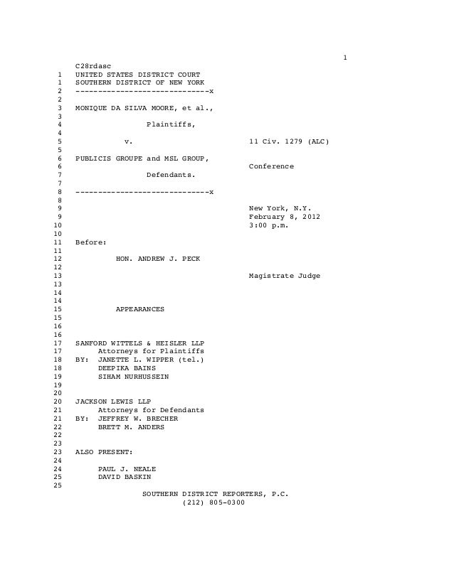 1 C28rdasc 1 UNITED STATES DISTRICT COURT 1 SOUTHERN DISTRICT OF NEW YORK 2 ------------------------------x 2 3 MONIQUE DA...