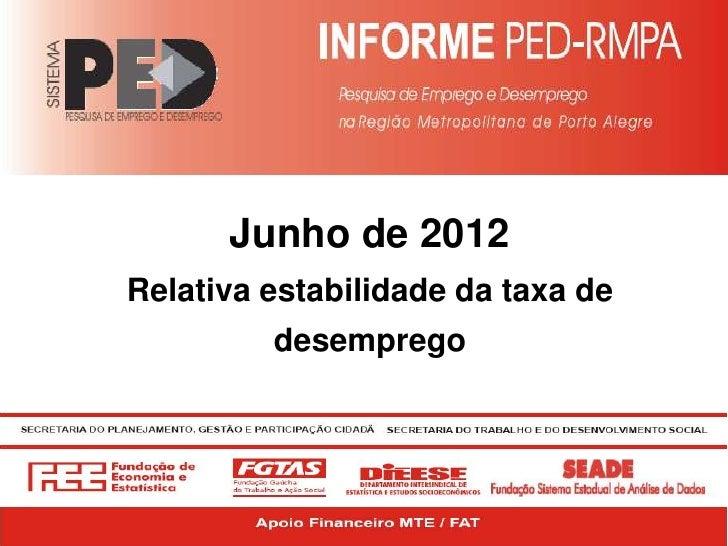 Junho de 2012Relativa estabilidade da taxa de         desemprego