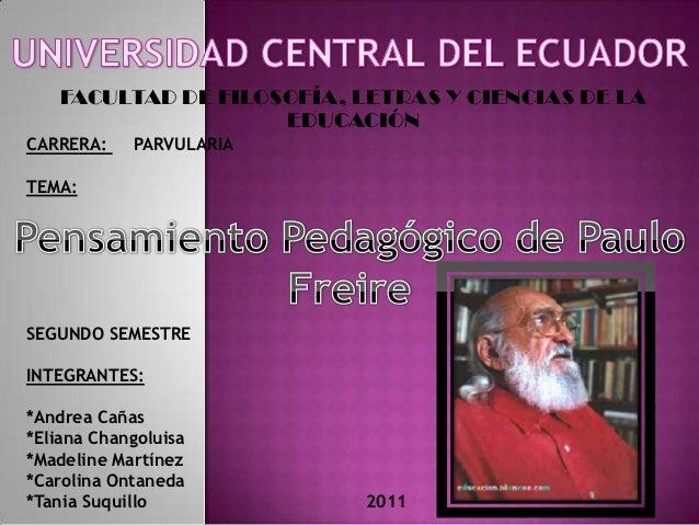 FACULTAD DE FILOSOFÍA, LETRAS Y CIENCIAS DE LA                     EDUCACIÓNCARRERA:    PARVULARIATEMA:SEGUNDO SEMESTREINT...