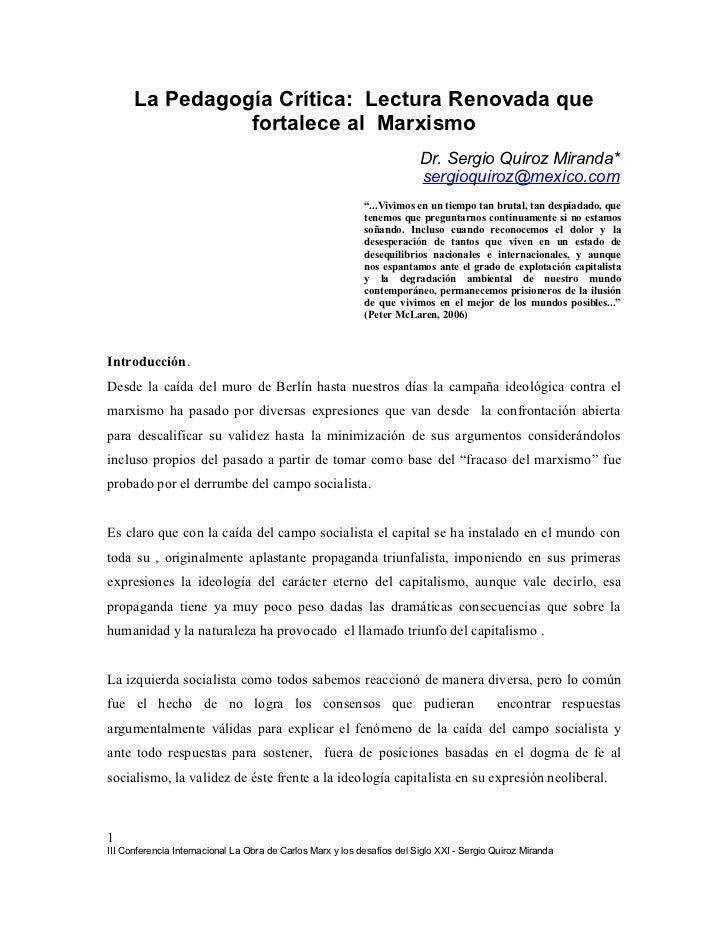 La Pedagogía Crítica: Lectura Renovada que                fortalece al Marxismo                                           ...