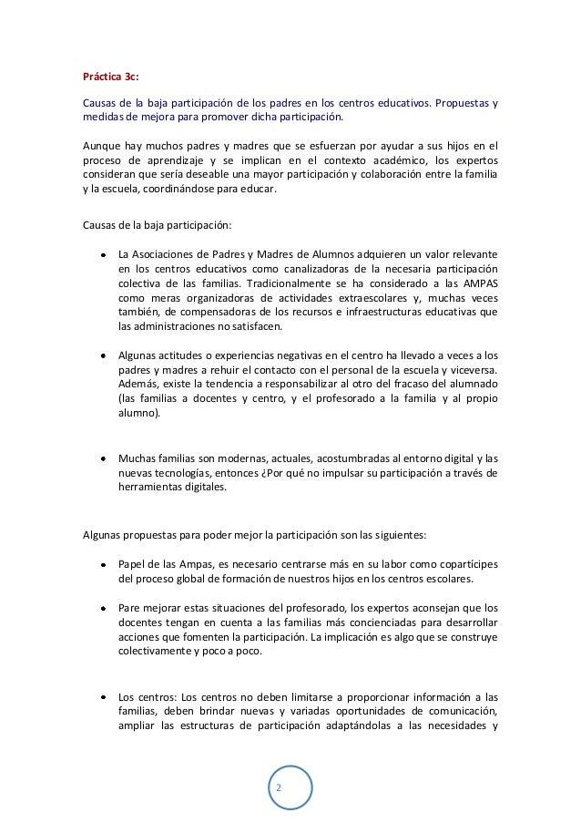 2Práctica 3c:Causas de la baja participación de los padres en los centros educativos. Propuestas ymedidas de mejora para p...