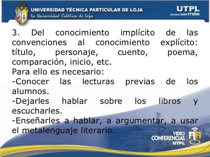 3. Del conocimiento implícito de las convenciones al conocimiento explícito: título, personaje, cuento, poema, comparación...