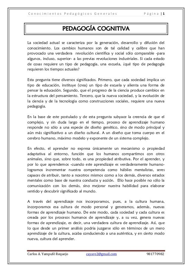 Conocimientos Pedagógicos Generales                                   Página |1                     PEDAGOGÍA COGNITIVALa ...