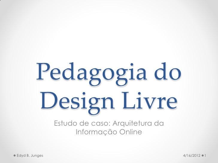 Pedagogia do          Design Livre                 Estudo de caso: Arquitetura da                       Informação OnlineE...