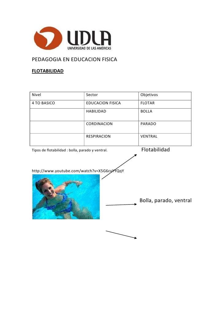 PEDAGOGIA EN EDUCACION FISICAFLOTABILIDADNivel                             Sector             Objetivos4 TO BASICO        ...