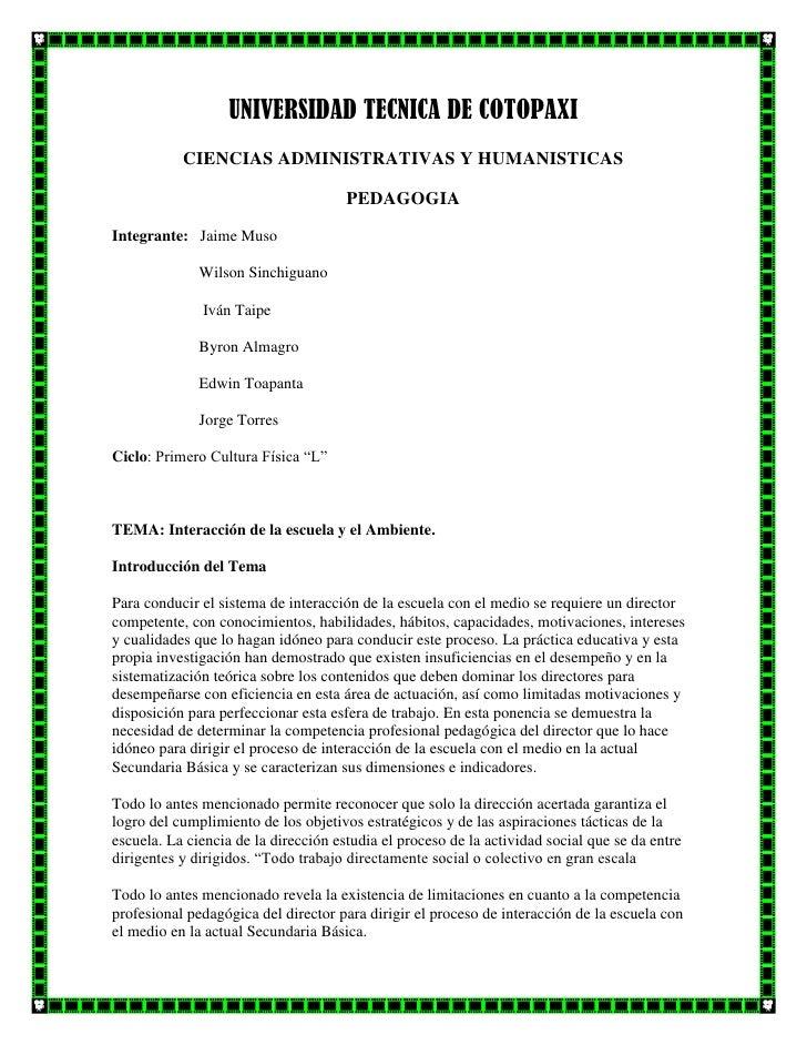 UNIVERSIDAD TECNICA DE COTOPAXI           CIENCIAS ADMINISTRATIVAS Y HUMANISTICAS                                      PED...