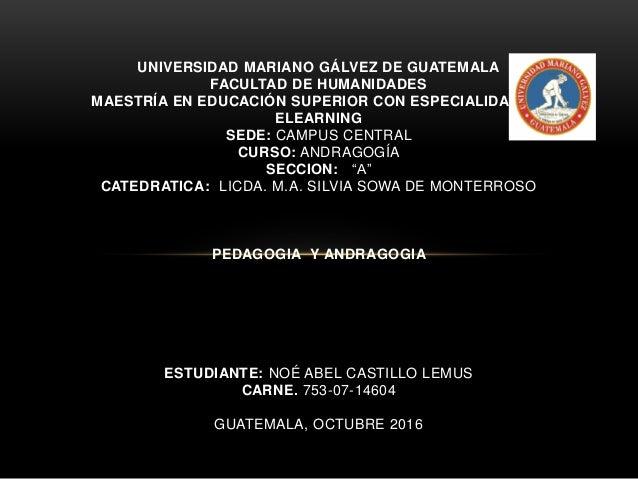 UNIVERSIDAD MARIANO GÁLVEZ DE GUATEMALA FACULTAD DE HUMANIDADES MAESTRÍA EN EDUCACIÓN SUPERIOR CON ESPECIALIDAD EN ELEARNI...