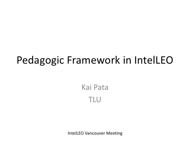 Intelleo pedagogical framework