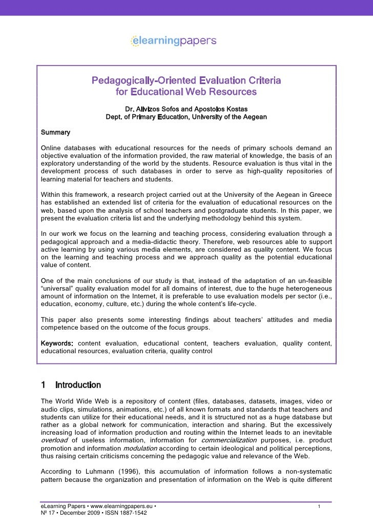 Pedagogically-Oriented Evaluation Criteria                       for Educational Web Resources                            ...