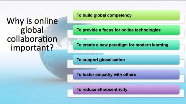 Why is online global collaboration important? To build global competency To provide a focus for online technologies To cre...