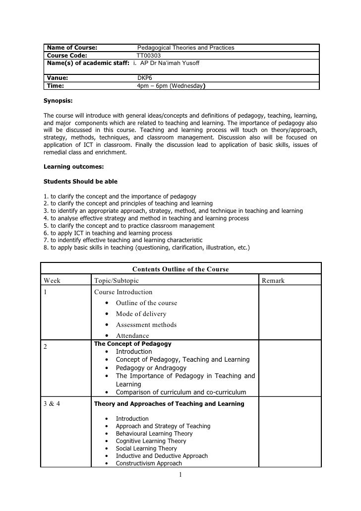 Name of Course:              Pedagogical Theories and Practices Course Code:                 TT00303 Name(s) of academic s...