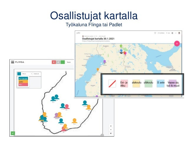 Osallistujat kartalla Työkaluna Flinga tai Padlet
