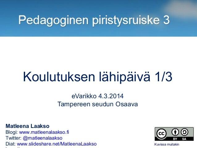 Koulutuksen lähipäivä 1/3 eVarikko 4.3.2014 Tampereen seudun Osaava Matleena Laakso Blogi: www.matleenalaakso.fi Twitter: ...
