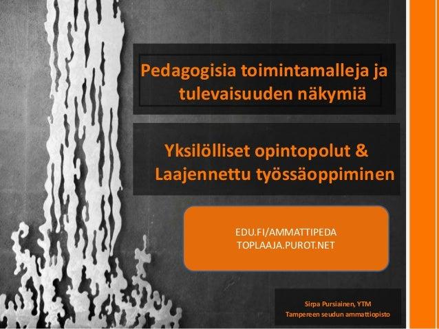Pedagogisia toimintamalleja ja tulevaisuuden näkymiä Sirpa Pursiainen, YTM Tampereen seudun ammattiopisto EDU.FI/AMMATTIPE...