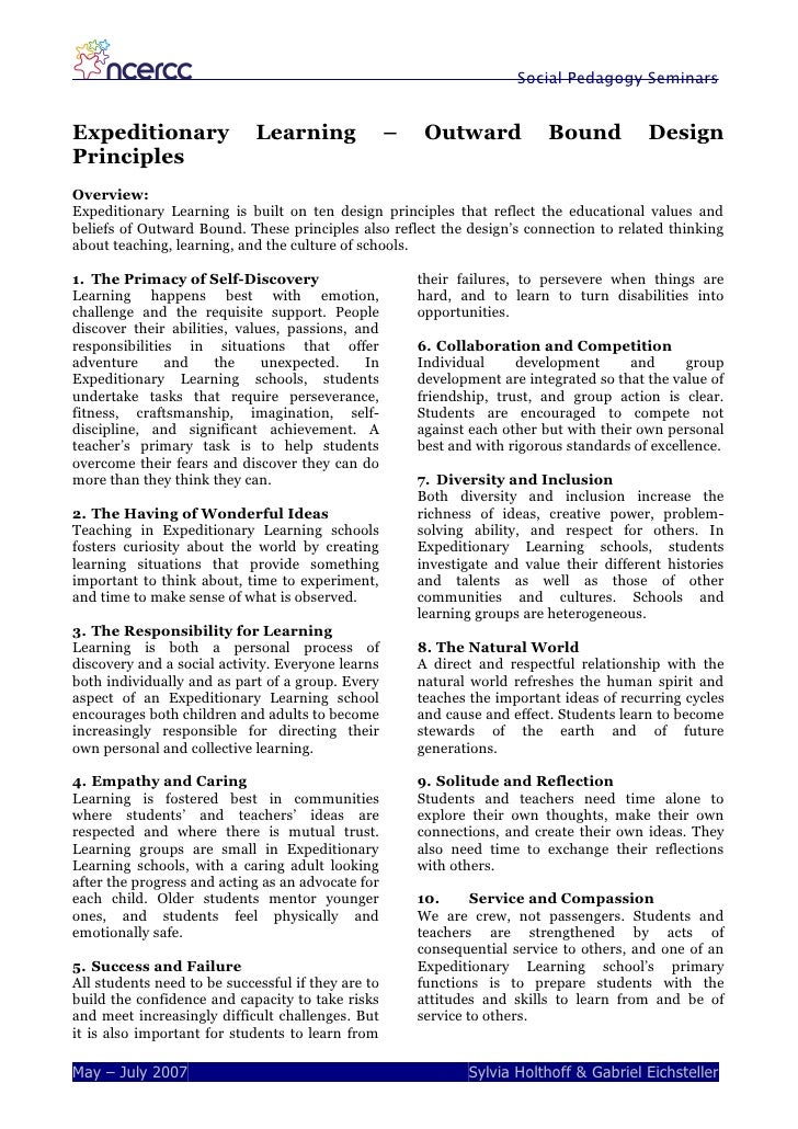 Expeditionary Learning Design Principles Pdf