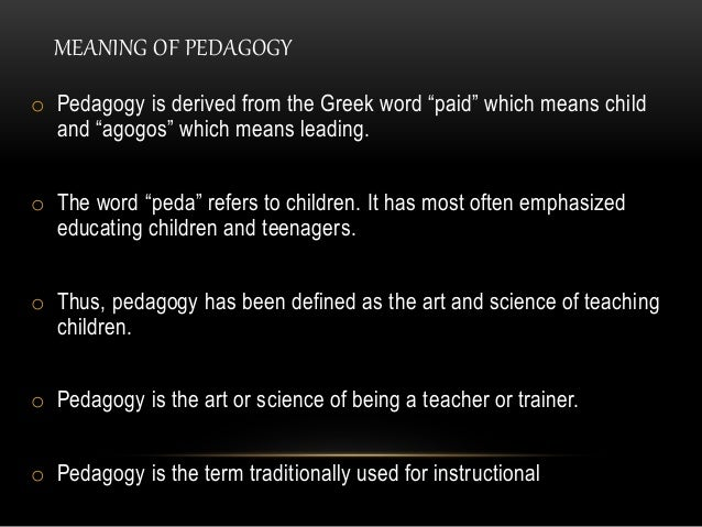 difference between pedagogy andragogy Andragogy refers to methods and principles used in adult education the word comes from the greek ἀνδρ- andr-, meaning man, and ἀγωγός agogos, meaning leader of it literally means leading man, whereas pedagogy literally means leading children.