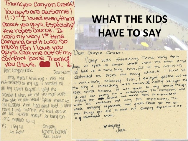 WHAT THE KIDS HAVE TO SAY