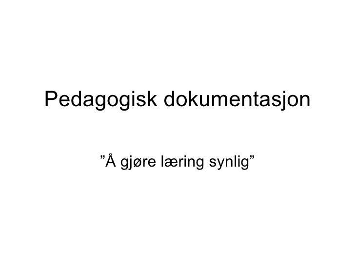 """Pedagogisk dokumentasjon """"Å gjøre læring synlig"""""""