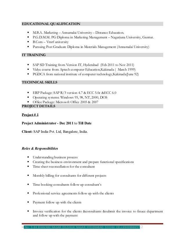 Resume updates for 2012