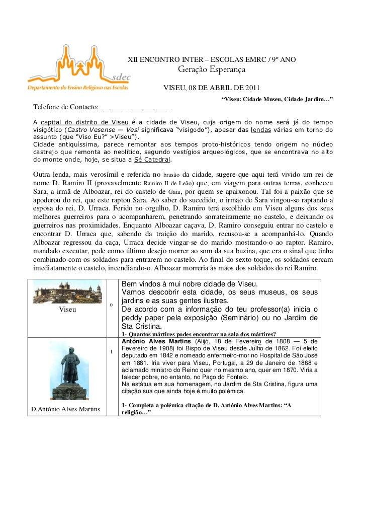 XII ENCONTRO INTER – ESCOLAS EMRC / 9º ANO                                                  Geração Esperança             ...
