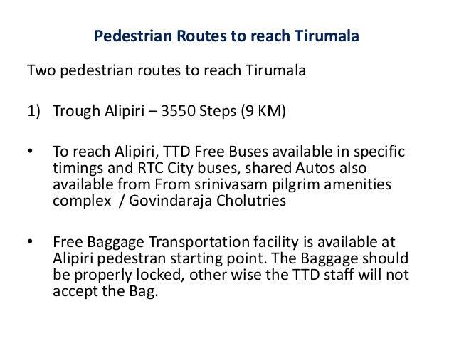 Rooms: Pedestrian Routes To Reach Tirumala, Tirupati