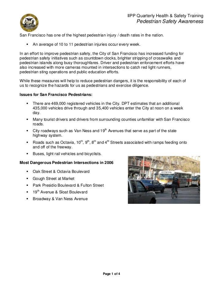 IIPP Quarterly Health & Safety Training                                                                      Pedestrian Sa...