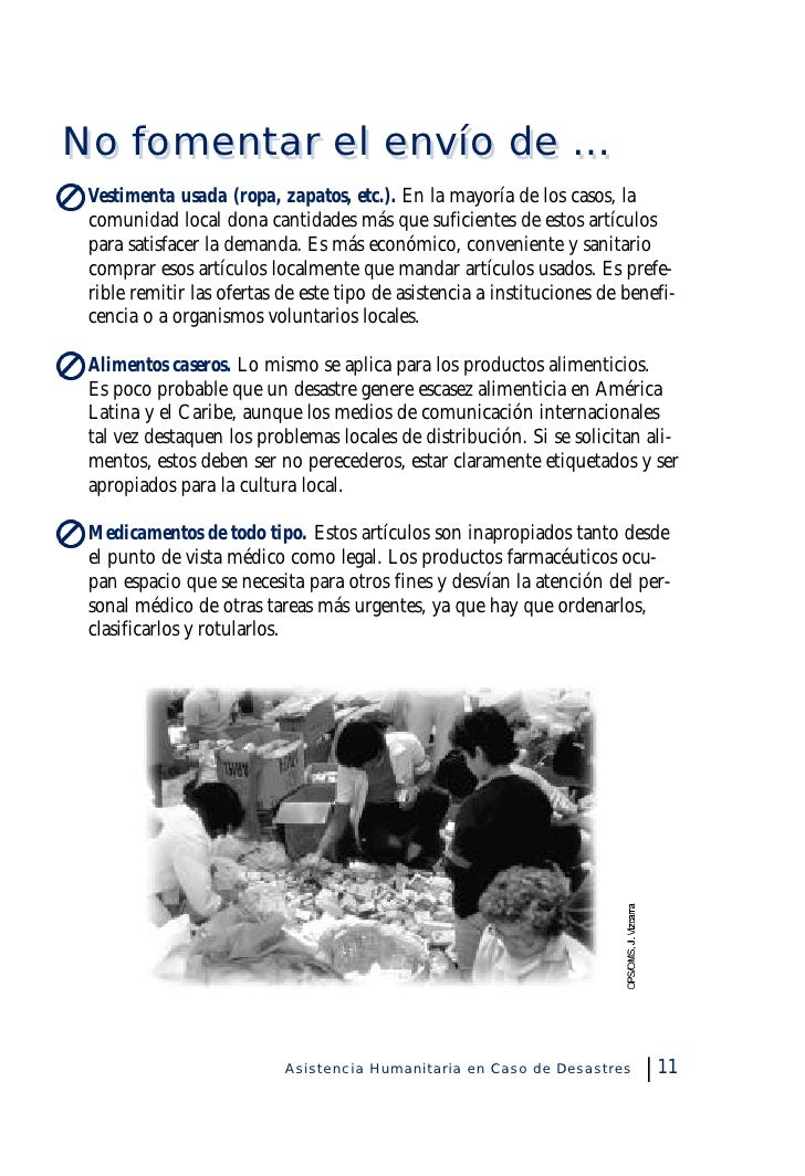 asistencia humanitaria en caso de desastres pan american health organization