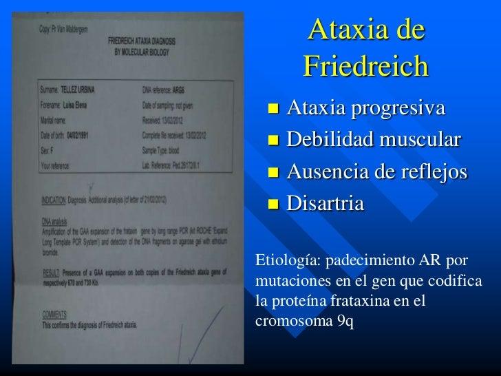 Ataxia de      Friedreich  Ataxia progresiva  Debilidad muscular  Ausencia de reflejos  DisartriaEtiología: padecimien...
