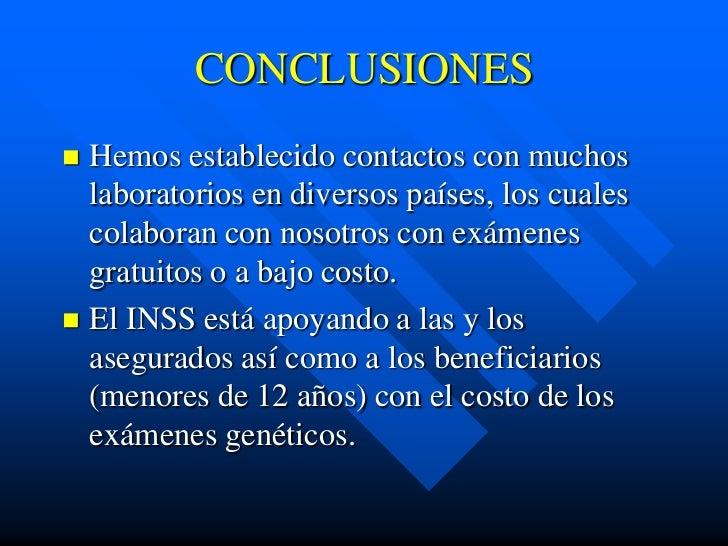 CONCLUSIONES Hemos establecido contactos con muchos  laboratorios en diversos países, los cuales  colaboran con nosotros ...