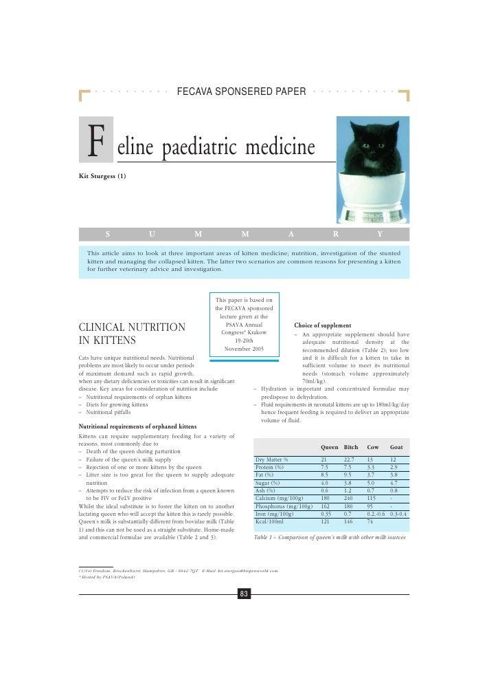 FECAVA SPONSERED PAPER        F eline paediatric medicine Kit Sturgess (1)                 S                   U          ...