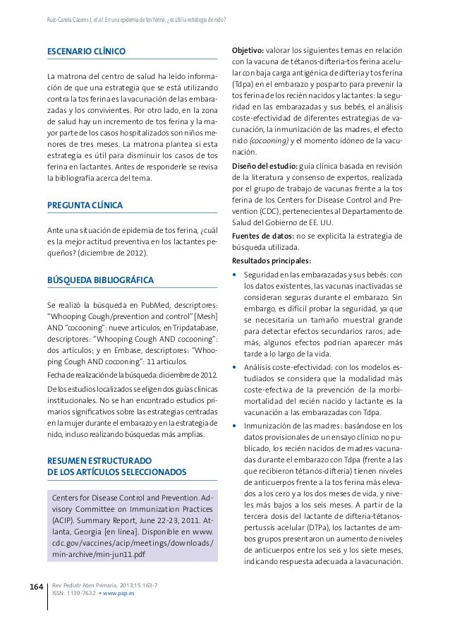 ESCENARIO CLÍNICO La matrona del centro de salud ha leído informa- ción de que una estrategia que se está utilizando contr...