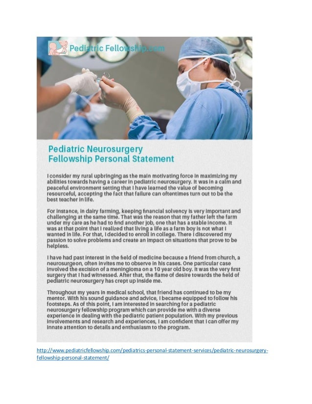 Pediatric Neurosurgery Fellowship Personal Statement