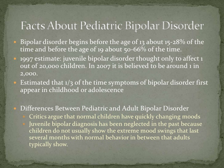 pediatric bipolar disorder essay A research paper focused on bipolar disorder print children as well (gallagher if you are the original writer of this essay and no longer wish to have the.